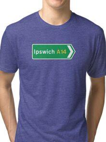 Ipswich, Road Sign, UK  Tri-blend T-Shirt
