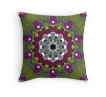 Purple Snakeskin Flower Throw Pillow