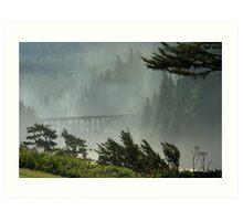 Misty Bridge at Heceta Head Art Print