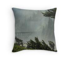 Misty Bridge at Heceta Head Throw Pillow