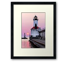 Michigan City Light and Setting Sun Framed Print