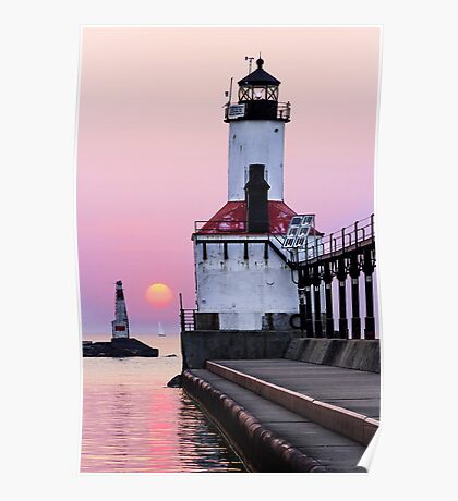 Michigan City Light and Setting Sun Poster
