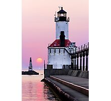 Michigan City Light and Setting Sun Photographic Print