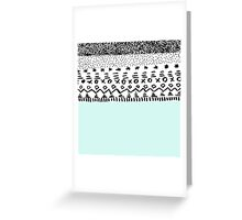 Chic hand drawn teal black tribal pattern  Greeting Card