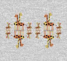 Children's Giraffes Mirror Image T-Shirt One Piece - Long Sleeve