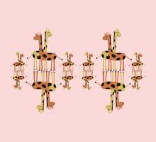 Children's Giraffes Mirror Image T-Shirt One Piece - Short Sleeve