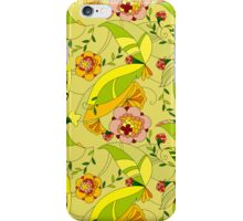 Abstract Yellow Tones Retro Flowers Collage iPhone Case/Skin