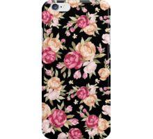Colorful Flowers Illustration, Black Background iPhone Case/Skin