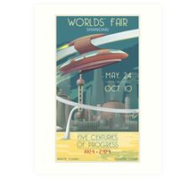 Futuristic Earth Travel Poster Art Print