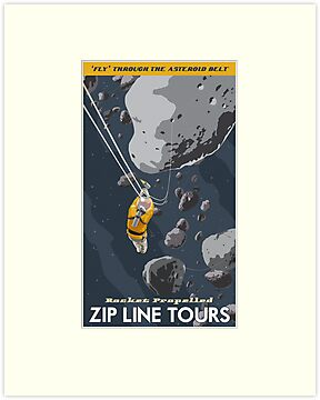 Asteroids Travel Poster by stevethomasart