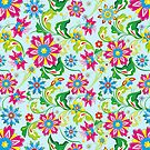 Multicolor Vintage Flowers Light Blue Background by artonwear