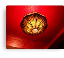 Orange Against Red, Looking Up At A Tiffany Lamp Canvas Print