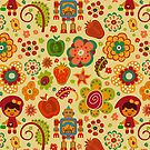 Colorful Abstract Retro Shapes Pattern-Robots, Flowers And Fruit-Cartoon Style by artonwear