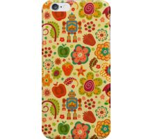 Colorful Abstract Retro Shapes Pattern-Robots, Flowers And Fruit-Cartoon Style iPhone Case/Skin