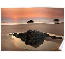 Hazy Oregon sunset Poster