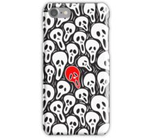 Black And White Sculls Pattern-Red Accent Color iPhone Case/Skin