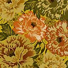 Pastel Brown And Yellow Tones Rustic Retro Flowers by artonwear