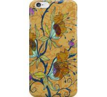 Pastel Tones Rustic Retro Floral Design-Brown And Blue Tones iPhone Case/Skin