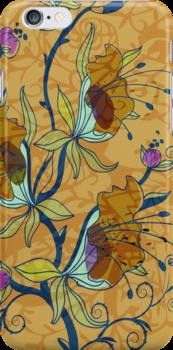 Pastel Tones Rustic Retro Floral Design-Brown And Blue Tones by artonwear
