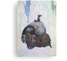 Jullbocken The Yule Goat Being Ridden By A Child Canvas Print