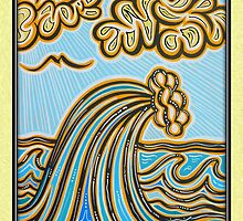 High Golden Wave Greeting Card by philsretroart