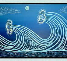 Moonlight Waves Greeting Card by philsretroart