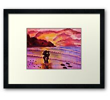 Sunset kiss, watercolor Framed Print