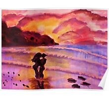 Sunset kiss, watercolor Poster