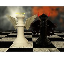 Chess Pieces - White Vs Black - Heaven Vs Hell Photographic Print