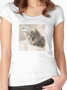 Dreaming Cat Women's Fitted Scoop T-Shirt