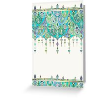 Art Deco Double Drop in Jade and Aquamarine on Cream Greeting Card