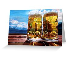 Two Glasses of Beer with Mountains Greeting Card