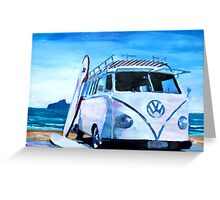 Surf Bus Series - The White Volkswagen Greeting Card