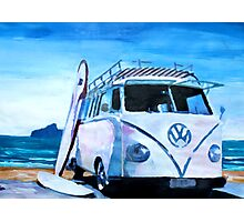 Surf Bus Series - The White Volkswagen Photographic Print