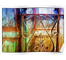 Wrought Iron Rails and Wooden Door Poster