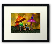 Whimsical Mushrooms and Ribbits The Frog Framed Print