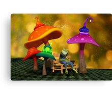 Whimsical Mushrooms and Ribbits The Frog Canvas Print