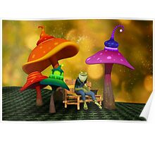 Whimsical Mushrooms and Ribbits The Frog Poster