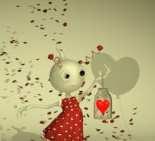 The Captured Heart - Whimsical Valentine's Day Art Sticker