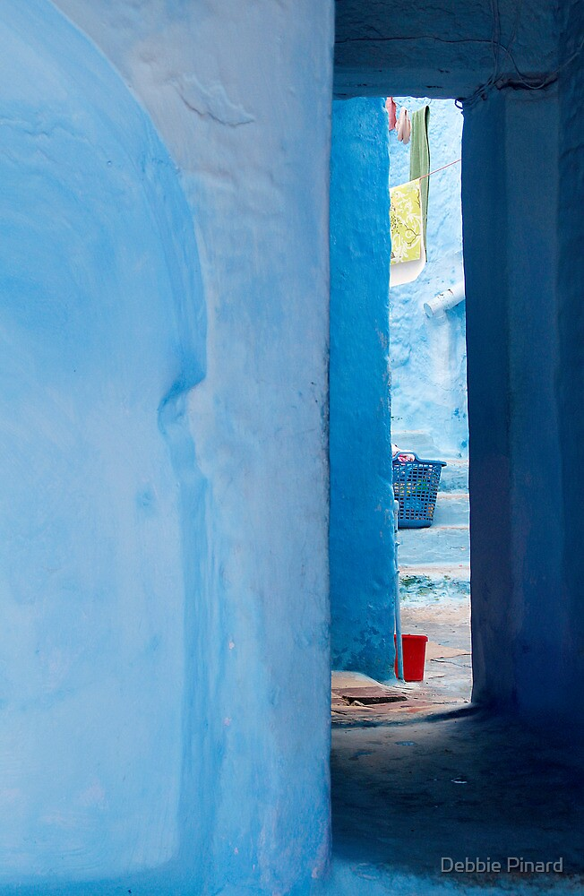Peeking at the Laundry, Chefchauen Morocco by Debbie Pinard