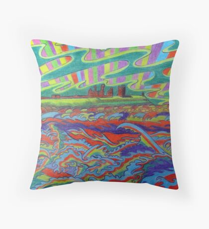 356 DUNSTANBURGH COLOUR STORM - DAVE EDWARDS - COLOURED PENCILS - 2012 Throw Pillow