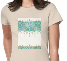 Art Deco Double Drop in Jade and Aquamarine on Cream Womens Fitted T-Shirt