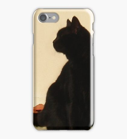 Side View Silhouette of A Black Cat Sitting On A Roof iPhone Case/Skin