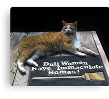 Cat on Dull Women Mat Canvas Print