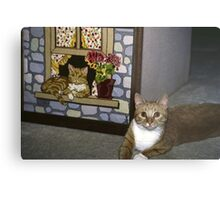 Cat Art Imitates Life Metal Print