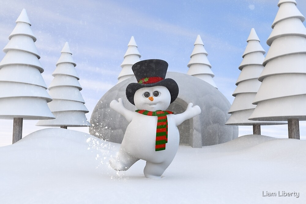 Cute Christmas Snowman by Liam Liberty