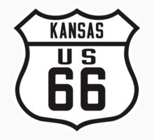 Route 66 Sign, Kansas, USA One Piece - Short Sleeve