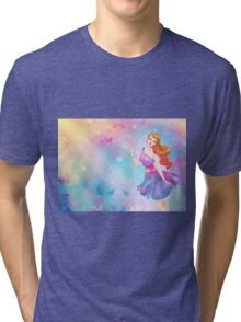 Colorful Butterfly Girl Tri-blend T-Shirt