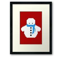 Cute Christmas Pixel Snowman Framed Print