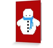Cute Christmas Pixel Snowman Greeting Card